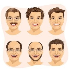 Isolated set of mature man avatar vector