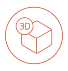 Three d box line icon vector