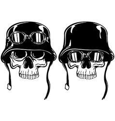 Skull in goggles and helmet set vector