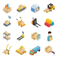 Warehouse logistic storage icons set vector