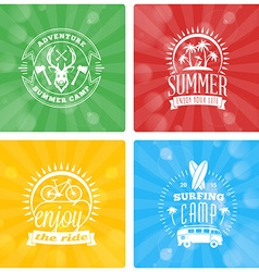 Set of summer holidays design elements on colorful vector
