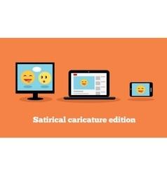 Satirical Caricature Edition Design Flat vector image
