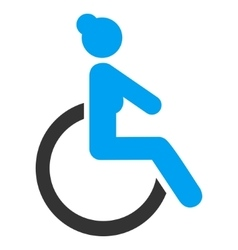 Disabled woman flat icon vector