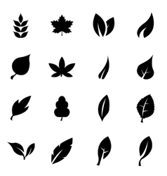 Black leaf icon set vector