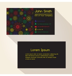 Abstract outline flowers black business card vector
