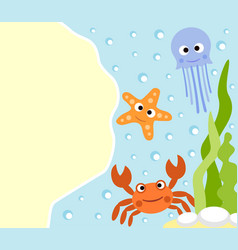 Background sea animals cartoon card vector