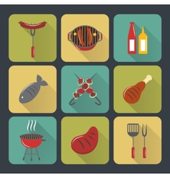 Bbq grill icons flat set vector image vector image