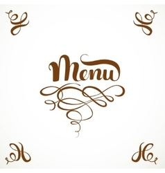 Calligraphic inscription menu with elegant vector image vector image