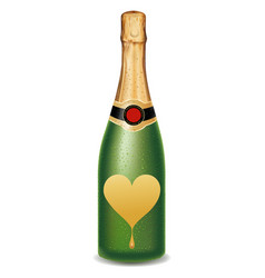Champagne bottle with heart valentine packaging vector