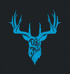 deer be wild and free invert blue vector image vector image
