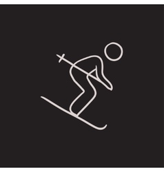 Downhill skiing sketch icon vector image vector image