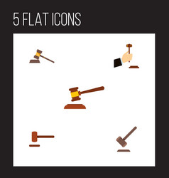 Flat icon court set of court defense tribunal vector