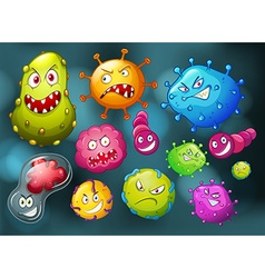 Germs with monster face vector
