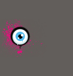 Graffiti eyeball with pink paint grunge on gray vector