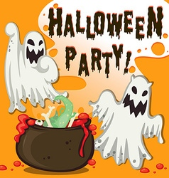 Halloween theme with ghost and pot vector