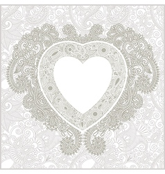 hand draw ornate floral Valentin Day card with hea vector image