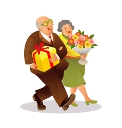 Happy elderly couple with a bouquet of flowers and vector
