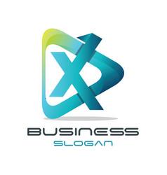 letter x media logo vector image vector image