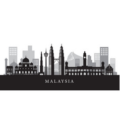 Malaysia landmarks skyline in black and white vector