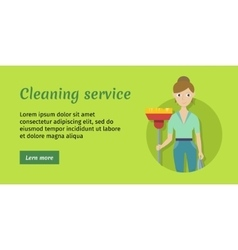 Member of cleaning service with broom and duster vector
