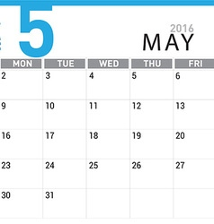planning calendar May 2016 vector image vector image