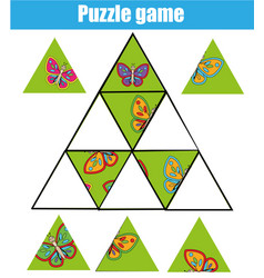 puzzle kids activity matching children vector image