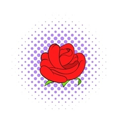 Red rose flower icon comics style vector image vector image