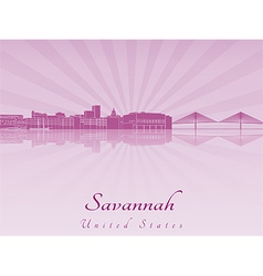 Savannah skyline in purple radiant orchid vector