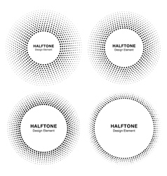 Set of Circle Frame Halftone Dots Logo Elements vector image vector image