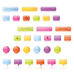 Shiny glowing buttons and icons vector image