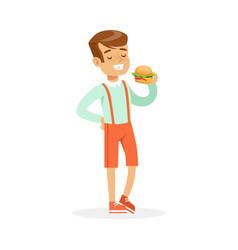 Smiling boy eating hamburger colorful character vector