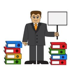 tired businessman and stacks of folders vector image