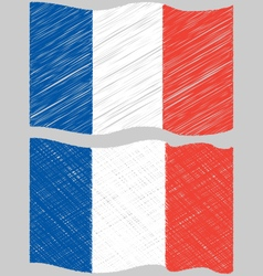 Waving hand draw sketch flag of france vector
