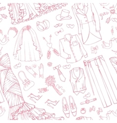 Wedding fashionbridegroom dress seamless pattern vector