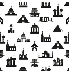 World religions types of temples icons seamless vector