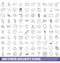 100 cyber security icons set outline style vector