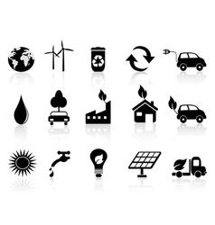 black eco icon vector image