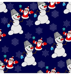 Seamless background with a snowman vector