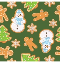 Ginger cookies seamless pattern vector
