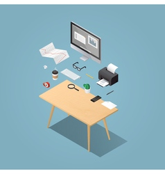 Isometric workplase flying objects vector