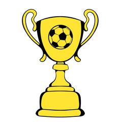 golden soccer trophy cup icon icon cartoon vector image