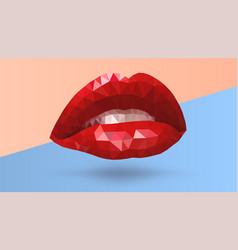 women seductive scarlet lips made from triangle vector image