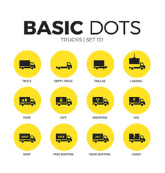 Trucks flat icons set vector
