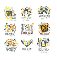 nothern nothern land set for label design vector image