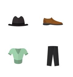 flat garment set of male footware pants panama vector image
