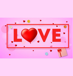 Love card with typography a large red heart in vector