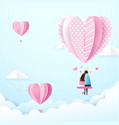 Happy couple in love swings with heart shape vector