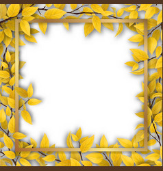 Frame with yellow autumn leaves vector