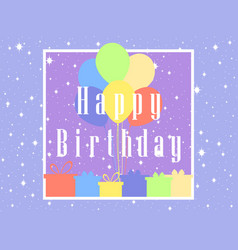 Happy birthday card celebration banner balloons vector