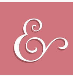 Wedding text decoration ampersand vector